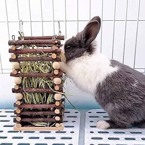 Heuraufe Kaninchen, Natürlichem Apfelholz Stehender Futterautomat, Heu und Futterschüsseln für Kaninchen, Meerschweinchen, Chinchilla und andere Kleintiere