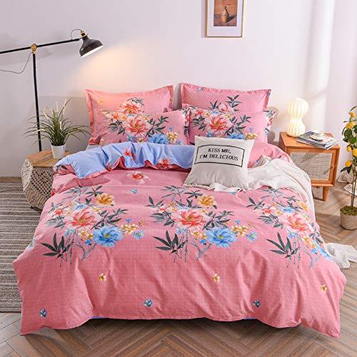 CYGJ CYGJHypoallergenic cotton comfortable three-piece or four-piece beddingPink flowers1.8m four-piece set