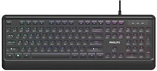 PHILIPS Ultra-Slim USB Keyboard | Low-Profile Full-Sized Wired PC Keyboard | RGB Backlit Chiclet Keys | Anti-Aliasing, N-K...