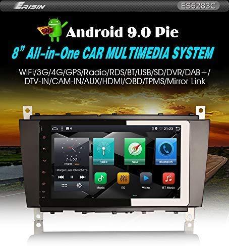 Erisin ES6283C Autoradio 8 inch Android 9.0 4G WiFi HDMI GPS voor Mercedes C/CLK/CLC klasse