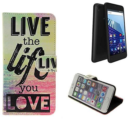 K-S-Trade® Schutzhülle Für Archos Access 50 4G Schutz Hülle 360° Wallet Case ''live Life Love'' Schutzhülle Handy Tasche Handyhülle Etui Smartphone Flip Cover Standfunktion (1x)