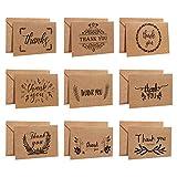Hongyans 36 Piezas Tarjeta de Felicitación Papel Kraft Gracias Tarjetas de Agradecimiento con Sobres y Pegatinas para Boda Bebé Shower Navidad Negocio