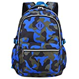 XLERHAZO School Backpack Camouflage Backpack Water Repellent Casual Daypack Lightweight Bookbags for Boys Girls (Camouflage Blue)