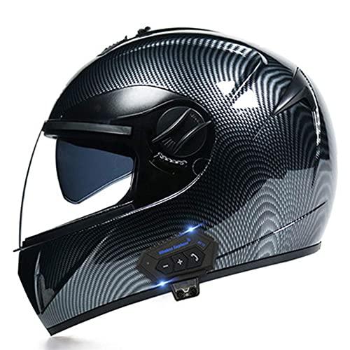 TFEL Casco Moto Bluetooth Integrado,Lentes HD Cascos integrales Casco de Motocicleta MTB Manténgase abrigado en Invierno para protección Unisex para Adultos Certificación ECE,a,M