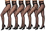 Isadora Paccini Women's 6-Pack Fishnet Lace Pantyhose Tights, Queen, Black 815Q