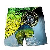 YOROOW-OUTDOOR 3D Bass Fishing Hombres Cool Tablero Shorts Troncos Natación Boys Pantalones Cortos Playa con Bolsillos,H,M