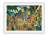 Pompa y circunstancia - Ceremonia hawaiana de Hanohano - Menú Matson - Portada de menú de transatlántico de Eugene Savage c.1930s - Impresión de Arte Papel Premium de Arroz Unryu 46x61cm