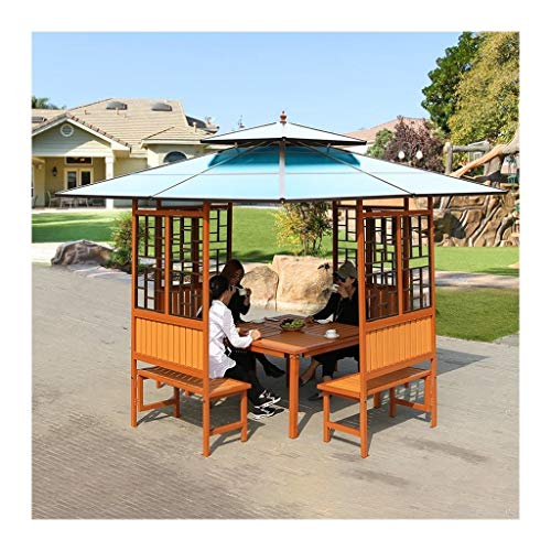 HLZY Garden Furniture Gazebo Wooden Gazebos for Patios with Desk, Double Top Ventilation, Garden Bird Pavilion Park Pergola, for Patio Garden Poolside Outdoor Canopy