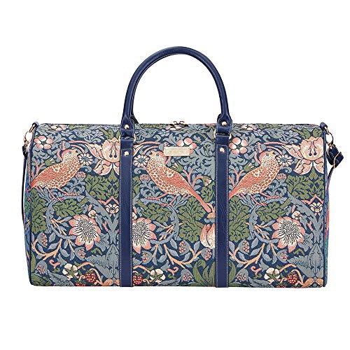 Tapisserie Siganre Grand Sac De Voyage Femme, Bagage à Main, Weekender, Grand Gym Bag avec la Conception de William Morris (Strawberry Thief Blue)