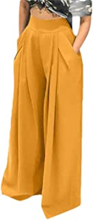 neveraway Women's Comfy Chic High Waist Casual Weekend Straight Palazzo Trousers