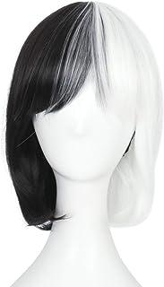 Miss U Hair Girl's Short Straight Harajuku Style Women Bob Hair Anime Cosplay Party Wig (Half black Half white)