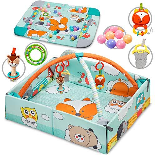 Kidwell JATI Multifunctionele speeldeken met speelboog 3-in-1 | 120 x 106 cm | Looprooster & speelmat & balletje | Baby kruipdeken voor spel & plezier | vanaf de geboorte