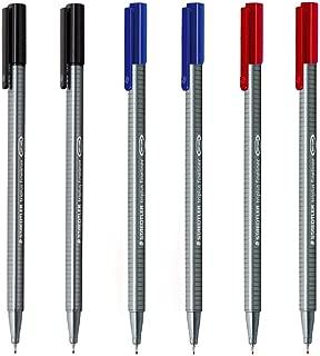 Staedtler Triplus Fineliner 0.3mm - Pack of Six (2 Black & 2 Red & 2 Blue)