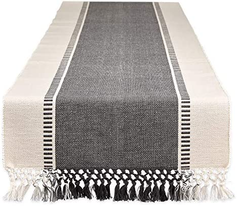 DII Dobby Stripe Woven Table Runner 13 x108 Mineral Gray product image
