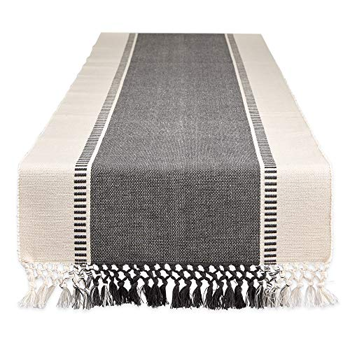 DII Dobby Stripe Woven Table Runner, 13x72, Mineral Gray