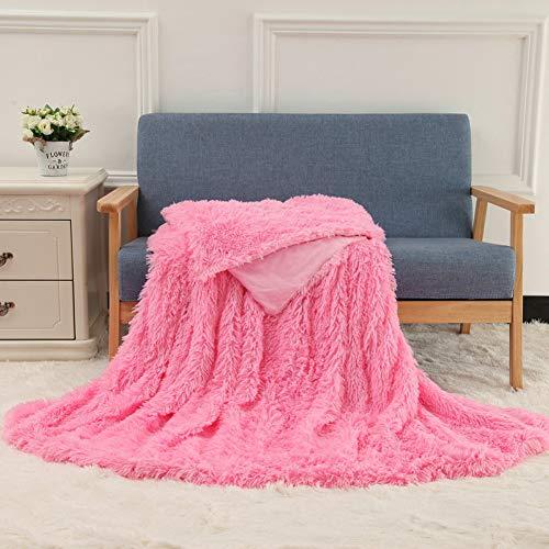"JLOSF Super Soft Long Shaggy Fuzzy Fur Warm Bed Sofa Throw Blanket-Pink 160x200cm(63""x79"")"