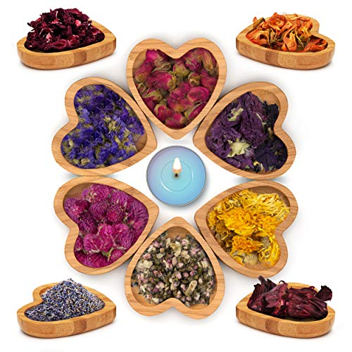 Dried Flowers -Set of 10 Varieties with Organic Fresh Scent | Dry Petals for Soap, Candle, Lip Gloss, Witchcraft Spells, Resin Jewelry, Potpourri | Bulk of Decor and Art Ideas with Rose and Lavender