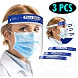 OUBA 3PCS Thick Face Shield with Transparent Face and Elastic Loop Cover Full Face Anti-Dust