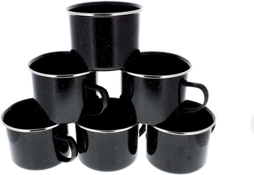 Direct 2 Boater List price 16 oz Durable Speck Mug Black Metal with Outlet sale feature Camping
