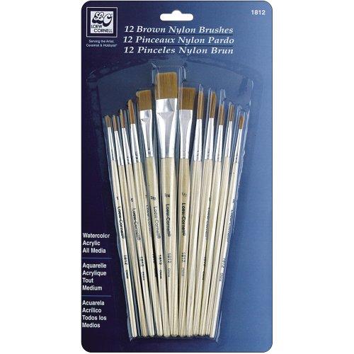 Loew-Cornell Nylon Brush Set, Brown, 12-Pack