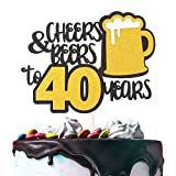 Cheers & Beers to 40 Years Gold Glitter Cake Topper Happy Birthday Wedding Anniversary 40th Party...