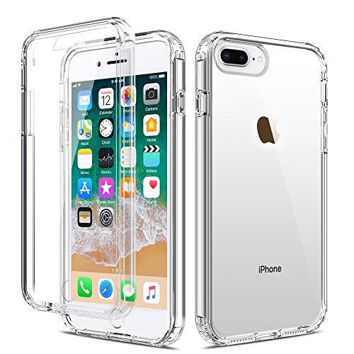 LAPOPNUT Coque iPhone 6 Plus Coque iPhone 6S Plus Transparent Silicone 360 Degrés Protection Intégrale Antichoc Anti-Rayures Fine Étui Tactile Deux Couches Case Housse pour Apple iPhone 6 Plus/6S Plus