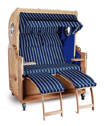 Strandkorb Kampen Spezial 2-Sitzer Blau gestreift Seiten Blau mit Bullauge