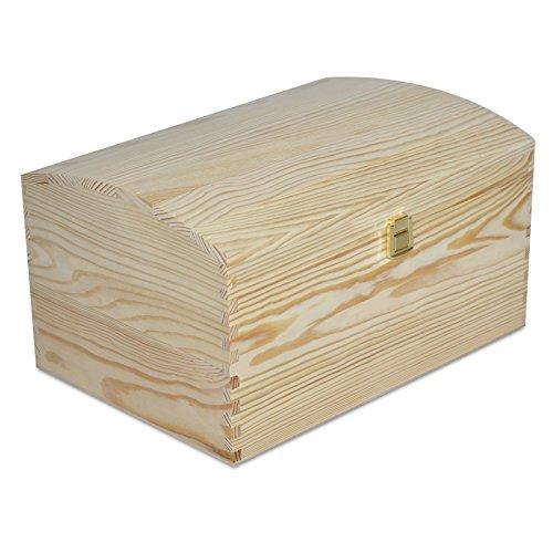 Creative Deco XXL Große Holztruhe Holz-Kiste mit Deckel und Schloss | 34,5 x 25 x 19,2 cm | Schatz-Truhe Spielzeugkiste Holzbox Unlackiert Kasten | ohne Griffen | Ideal für Wertsachen und Spielzeuge