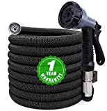 Expandable Garden Hose 100ft, Kink Free Water Hose with 10 Functions Nozzle, Flexible Hose Outdoor Yard Hose Lightweight Expanding Garden Hose Black, Freshwater Hoses