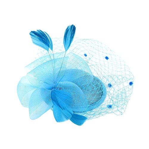 IPOTCH Vintage Hair Cord Feather Fascinator 1920's Great Gatsby Hair Decor - Bleu du ciel