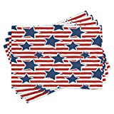 Lunarable Star Place Mats Set of 4, Stars on Stripes USA Americana Theme Independence National Celebration Party Print, Washable Fabric Placemats for Dining Table, Standard Size, Navy Blue