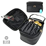 Makeup Bag Organizer by Blush | Train Style Case with Dual Zippered...