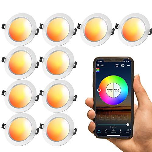 Downlights LED de 9W, paquete de 10 unidades, 700Lm, luz empotrable de malla Bluetooth, para techo, regulable, RGBWW, foco inteligente para barras KTV, compatible con Amazon Alexa/Google Home