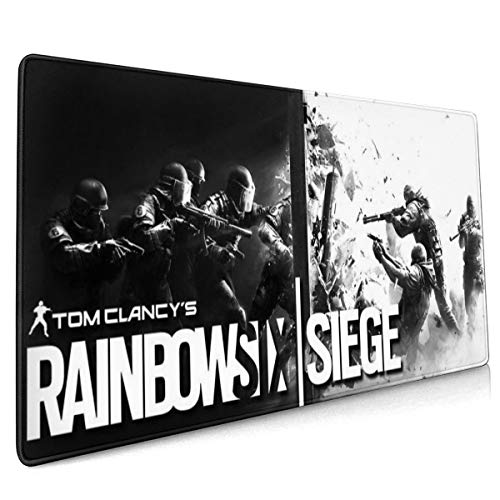 Rai-nbow S-ix Sie-ge Long Mouse Pad Extended Gaming Mouse Mat/Pad Ideal for Desk Cover, Computer Keyboard, PC and Laptop 35.4x15.7 in