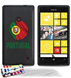 Muzzano Le Glossy F712687 Coque Souple Motif Ballon de Foot Portugal Noir + UltraClear Pack de 3 Films de Protection d'écran avec Stylet/Chiffon pour Nokia Lumia 520