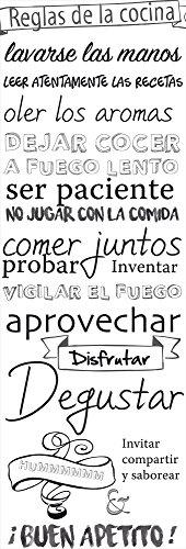 Plage Reglas de la Cocina Adhesivo para El Frigorífico, Vinilo, Blanco y Negro, 60x180 cm