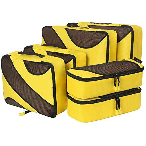 Amazon Brand - Eono Organizer per Valigie Organizzatori da Viaggio Sistema di Cubo di Viaggio Cubo Borse di Stoccaggio Luggage Packing Organizers Travel Packing Cubes - 6 Pezzi, Giallo