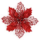GL-Turelifes Pack of 12 Glitter Artificial Poinsettia Flowers Christmas Wreath Christmas Tree Flowers Ornaments 6''(16cm) Diameter with 12 Pcs Green Soft Stings (Red)