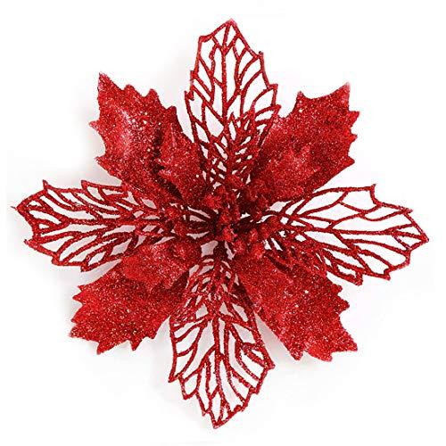 GL-Turelifes - Confezione da 12 Fiori di Stella di Natale Artificiali Glitterati, Ghirlanda di Natale per Albero di Natale, Diametro 16 cm,Rossa