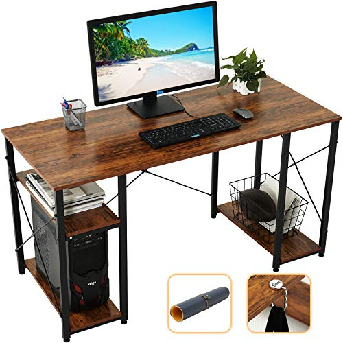 Gome Computer Desk with Shelves Storage, 55' Modern Home Office Desk for Small Spaces, Student Writing PC Desk for Teens Bedroom, Industrial Work Study Desk Wood Desk with Mouse Pad & Hanging Hook