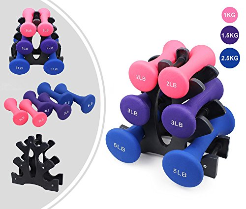 Leogreen - Ladies Weights, Coated Fixed-Weight Dumbbells, Dull polish, Pink/Purple/Blue, 22 lbs, with Stand, Dumbbell material: PVC, Stand material: ABS plastic