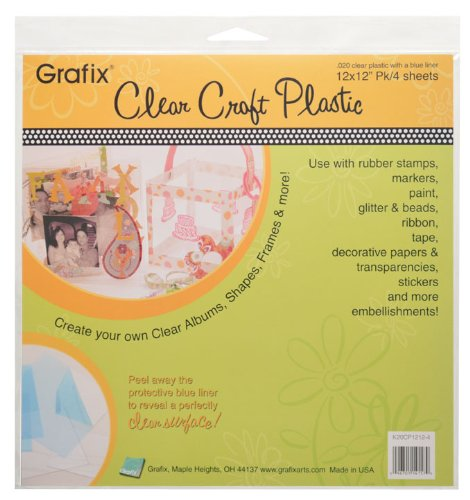 """Grafix Ultra Clear .020 Plastic, Durable and Archival Film, Perfect for DIY Crafts, Stencils, Journals, Cards, 3D Embellishments, and More, 12"""" x 12"""", 4 Pack"""