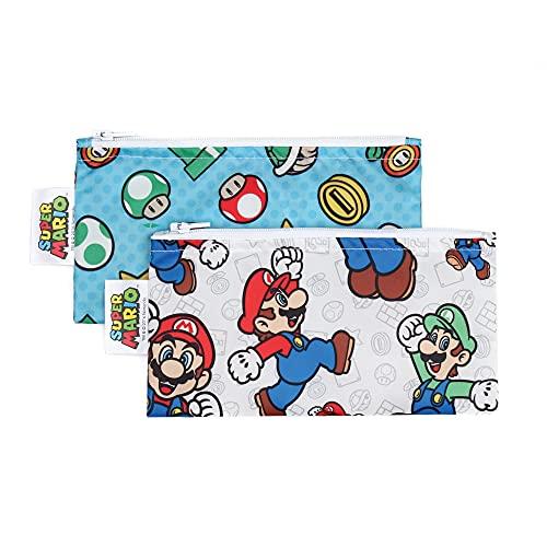 Bumkins Snack Bags, Nintendo Reusable, Washable, Food Safe, BPA Free, 2-Pack – Mario & Luigi,
