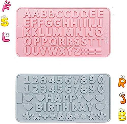 Molde de silicona para tartas Conjunto de molde de silicona alfanumérico, símbolo de feliz cumpleaños, molde de chocolate en forma de corazón para hornear de bricolaje Decoración de pasteles D
