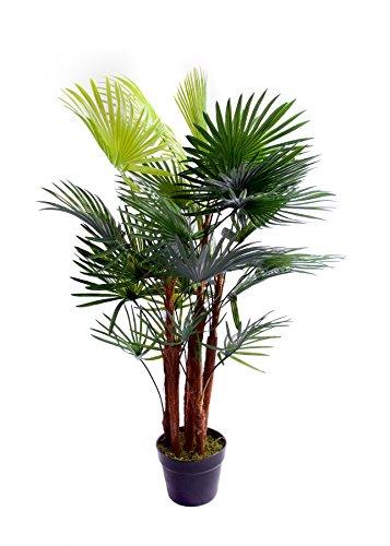 Palmera artificial tropical, areca, ideal para oficina, invernadero, jardín interior o exterior, 120cm, 91,4 cm