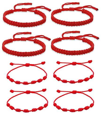VELESAY 8 Pieza Pulsera 7 Nudos Roja Kabbalah Pulsera Hilo Rojo Nudo Suerte Pulsera Tibetana Amistad Pulsera Hilo Rojo Pulseras para Mujeres Hombres