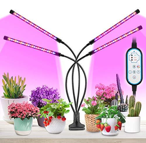Lampe Led Horticole, MOREASE Lampes de croissance 4 Tube, LED Lampe UV Plante 3 Mode Lumière (Rouge, Bleu, Jaune) et 10 Modes de Luminosité, Chronométrage AUTO -ON/OFF