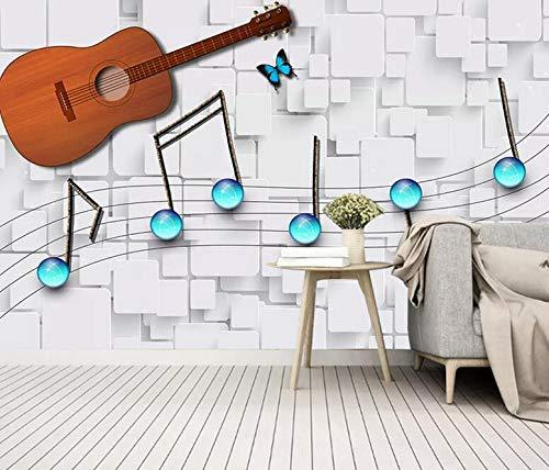 Europäische tv hintergrundbild moderne mode wohnzimmer musik dekoration tapete wandmalerei einfache note gitarre, 350 × 245 cm
