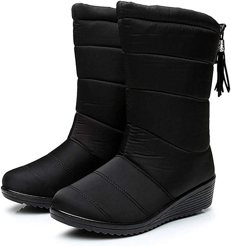 Women Snow Boot Ankle Boots Flat Cotton Female Warm Fur Plush Waterproof Zipper Mid Calf Boots