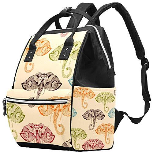 Bright Doodle Elephants Ethic Animals Nappy Changing Bag Diaper Sac à dos avec poches isolées, sangles de poussette, grande capacité multifonctionnel élégant sac à couches pour maman papa en plein air